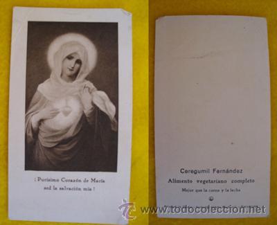 ANTIGUA ESTAMPA PUBLICIDAD : PURISIMO CORAZÓN DE MARÍA - CEREGUMIL FERNANDEZ (Postales - Postales Temáticas - Religiosas y Recordatorios)