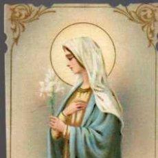 Postales: ANTIGUA ESTAMPA RELIGIOSA - PARA OBTENER GRACIAS DE LA VIRGEN MARIA - REGINA VIRGINUM. Lote 28259931