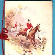 Postales: POSTAL INGLESA AÑOS 40-50 ESPECIAL DE NAVIDAD, DIBUJO CAZA DEL ZORRO, CON CORDÓN.. Lote 28334244