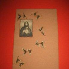Postales: ANTIGUA ESTAMPA RELIGIOSA PINTADA A MANO. Lote 28987813