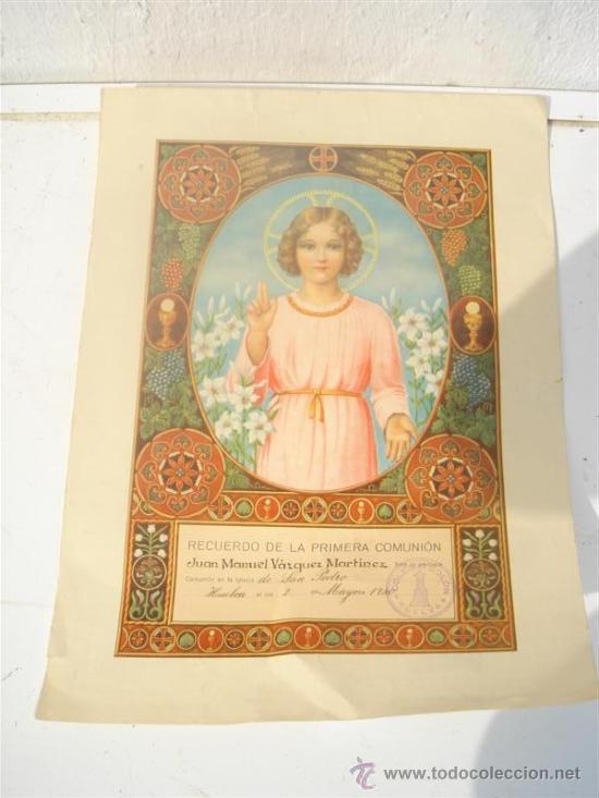 LAMINA RECUERDO DE LA 1º COMUNION (Postales - Postales Temáticas - Religiosas y Recordatorios)