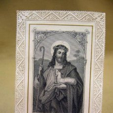 Postales: RECORDATORIO, ESTAMPA RELIGIOSA, DE PUNTILLA , PASTOR BONUS, 12 X 7,5 CM, PARIS. Lote 29710769