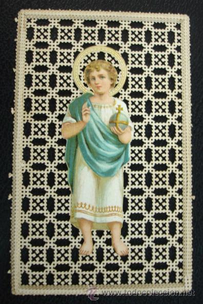 ESTAMPA RELIGIOSA. PUNTILLA. (10,5 X 6,5 CM.) (Postales - Postales Temáticas - Religiosas y Recordatorios)