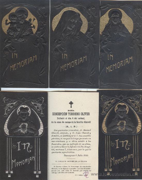 LOTE DE 6 RECORDATORIOS DE DEFUNCIÓN MODERNISTAS (CON RELIEVE) (Postales - Postales Temáticas - Religiosas y Recordatorios)