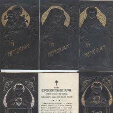 Postales: LOTE DE 6 RECORDATORIOS DE DEFUNCIÓN MODERNISTAS (CON RELIEVE). Lote 30455877