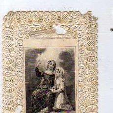 Postales: ESTAMPA PUNTILLA RELIGION. EDUCACION DE LA VIRGEN MARIA.. Lote 30924227