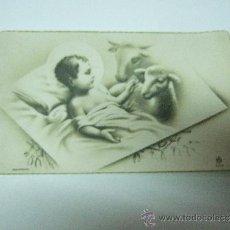Postales: ESTAMPA NIÑO JESUS CON UNA OVEJA Y UNA VACA - ESCRITA - 10X6. Lote 31083733