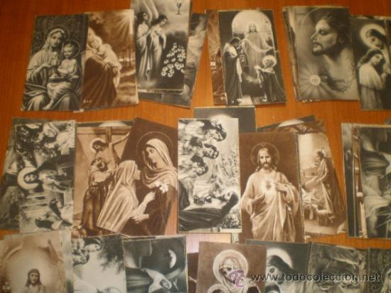 Postales: LOTE DE 110 ESTAMPAS RELIGIOSAS B/N - 9,5 X 5 - Foto 3 - 31233491
