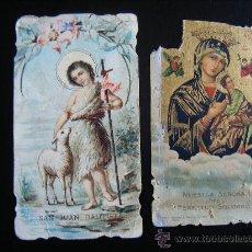 Postales: LOTE 2 ESTAMPA RELIGIOSA PLEGARIA SAN JUAN BAUTISTA Y ORACIÓN SEÑORA DEL PERPETUO SOCORRO. 1900-10. . Lote 32056771