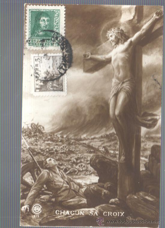 POSTAL RELIGIOSA Y DE GUERRA CHACUN SA CROIX CON CENSURA MILITAR REUS-CALAHORRA LOGROÑO (Postales - Postales Temáticas - Religiosas y Recordatorios)
