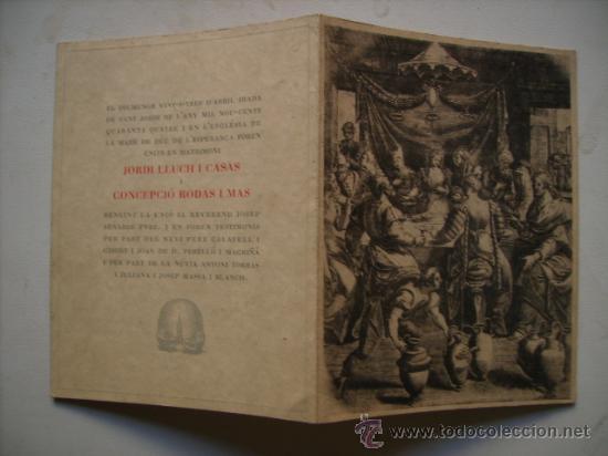 Antigua Tarjeta De Invitacion A Ceremonia Nupial Boda 23 04 1944 Dia De San Jorge