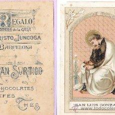 Cartes Postales: ANTIGUA ESTAMPA DE CHOCOLATES EVARISTO JUNCOSA -BARCELONA ***SAN LUIS GONZAGA*** 11 X 7 CM.. Lote 33781329