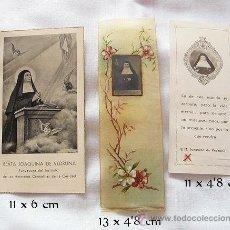 Postales: LOTE DE TRES ESTAMPITAS Y RELIQUIA BEATA VEDRUNA. Lote 34488740
