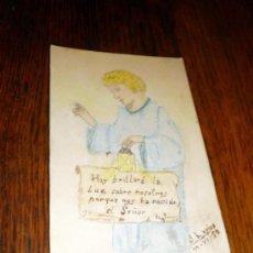 Postales: ESTAMPA RELIGIOSA NAVIDAD 1957 PINTADA A MANO. Lote 34589422