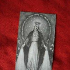 Postales: ESTAMPA RECUERDO VIRGEN DE LA MEDALLA RELIGIOSA (1ª COMUNION AÑO 1944 ). Lote 35069771