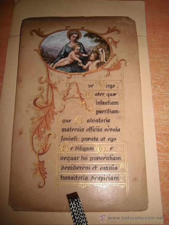 ESTAMPA RELIGIOSA PINTADA A MANO (Postales - Postales Temáticas - Religiosas y Recordatorios)