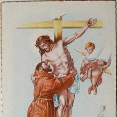 Postales: PRECIOSA POSTAL RELIGIOSA CIRCULADA, ANTIGUA, CON BORDES DORADOS. Lote 35946348