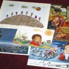 Postales: POSTAL DE NAVIDAD AÑOS 60 DEDICADAS- 4 POSTALES Y UNA DE TALLER DE VIDA, COLOMBIA. Lote 36739728