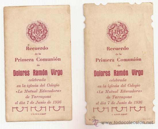 Postales: 2 ANTIGUA ESTAMPA - RECORDATORIO DEL .AÑO 1936 - Foto 2 - 37164249