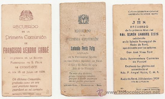 Postales: 3 ANTIGUA ESTAMPA - RECORDATORIO DEL .AÑO 1939 - Foto 2 - 37164262