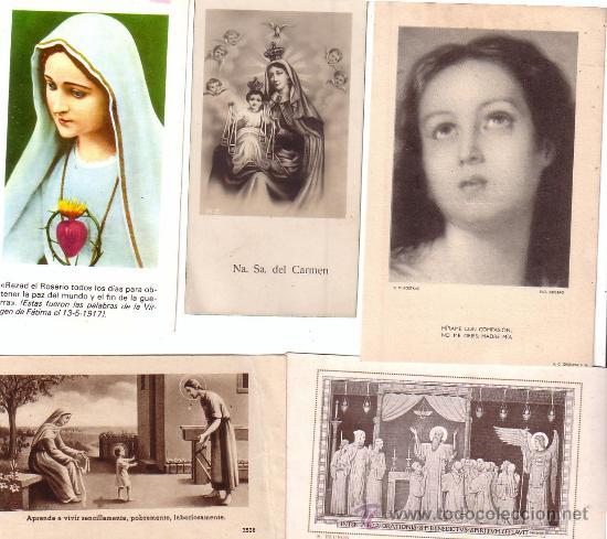 LOTE DE 5 ESTAMPAS ESTAMPA RELIGIOSAS (Postales - Postales Temáticas - Religiosas y Recordatorios)