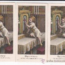 Postales: 3 RECORDATORIOS DETRÁS EN BLANCO. Lote 38022106