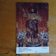Postales: ESTAMPA CARTON CRISTO SAGRADO CORAZON DE JESUS. Lote 38687585