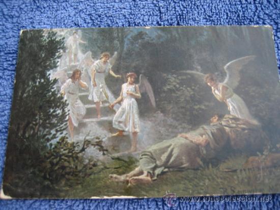 postal religiosa: h.k & co. munich. la sagrada escritura. s.1ª. sueño de jacobo, usado segunda mano