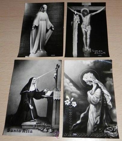 LOTE DE 4 ESTAMPAS RELIGIOSAS ANTIGUAS (Postales - Postales Temáticas - Religiosas y Recordatorios)