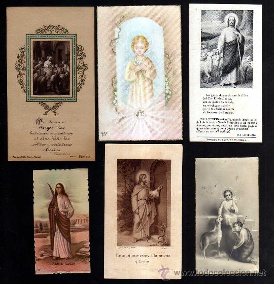 LOTE DE ESTAMPAS RELIGIOSAS, RECORDATORIOS, ETC. (Postales - Postales Temáticas - Religiosas y Recordatorios)