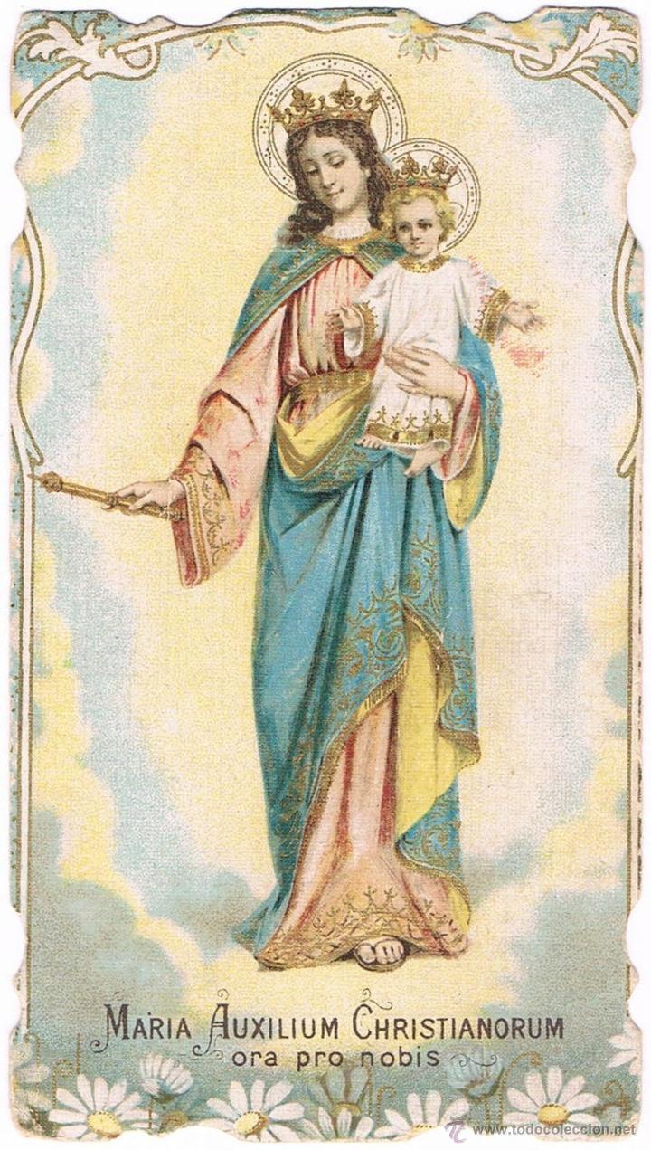 ANTIGUA ESTAMPA RELIGIOSA SALESIANA MARÍA AUXILIADORA RECUERDO EJERCICIOS ESPIRITUALES ECIJA 1923. (Postales - Religiosas y Recordatorios)