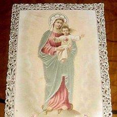 Postales: ANTIGUA ESTAMPA CALADA RELIGIOSA - SAGRADO CORAZON - HOLY CARD LACE - FINALES S. XIX PRINCIPIOS DEL . Lote 38248921