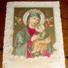 Postales: ANTIGUA ESTAMPA CALADA RELIGIOSA - PERPETUO SOCORRO - HOLY CARD LACE - FINALES S. XIX PRINCIPIOS DEL. Lote 38248922
