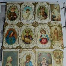 Postales: LAMINA CON 23 ESTAMPAS RELIGIOSAS, 7 DE ELLAS CALADAS - ESTAN PEGADAS, NO ESTAMOS SEGUROS DE QUE SE . Lote 40503315