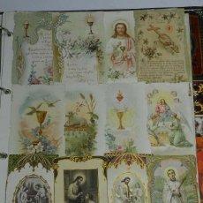 Postales: LAMINA CON 24 ESTAMPAS RELIGIOSAS - ESTAN PEGADAS, NO ESTAMOS SEGUROS DE QUE SE PUEDAN DESPEGAR - LA. Lote 40504171