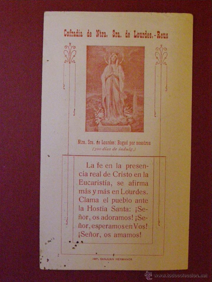 COFRADIA DE NUESTRA SEÑORA DE LOURDES - REUS - PLEGARIA ANTE EL SACRAMENTO. (Postales - Postales Temáticas - Religiosas y Recordatorios)
