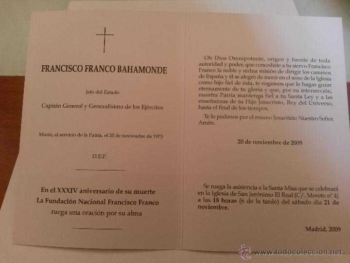 Postales: Recordatorio y misa por franco 2009 de la fundacion nacional francisco franco - Foto 2 - 40917445
