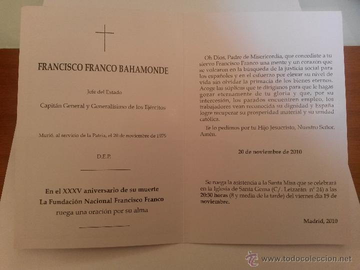 Postales: Recordatorio y misa por franco 2010 de la fundacion nacional francisco franco - Foto 2 - 40917452