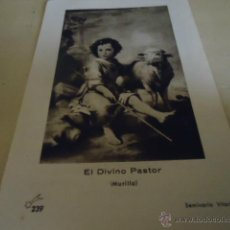 Postales: ANTIGUA ESTAMPA RELIGIOSA EL DIVINO PASTOR, MURILLO. Lote 40987973