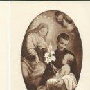 Postales: LA SANTISIMA VIRGEN DEJA A SAN ESTANISLAO DE KOSTKA EL NIÑO JESUS. HUECOGRABADO MUMBRU. Lote 41365542