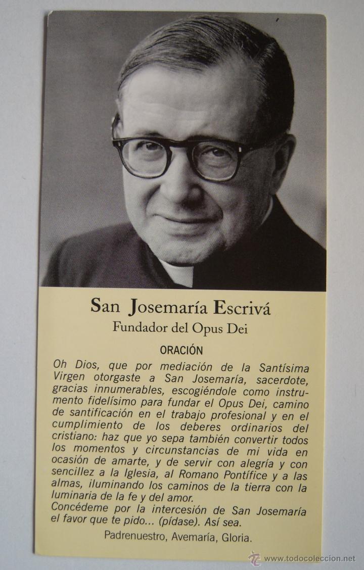San josemar a escriv estampita grande con oraci n fundador del opus dei