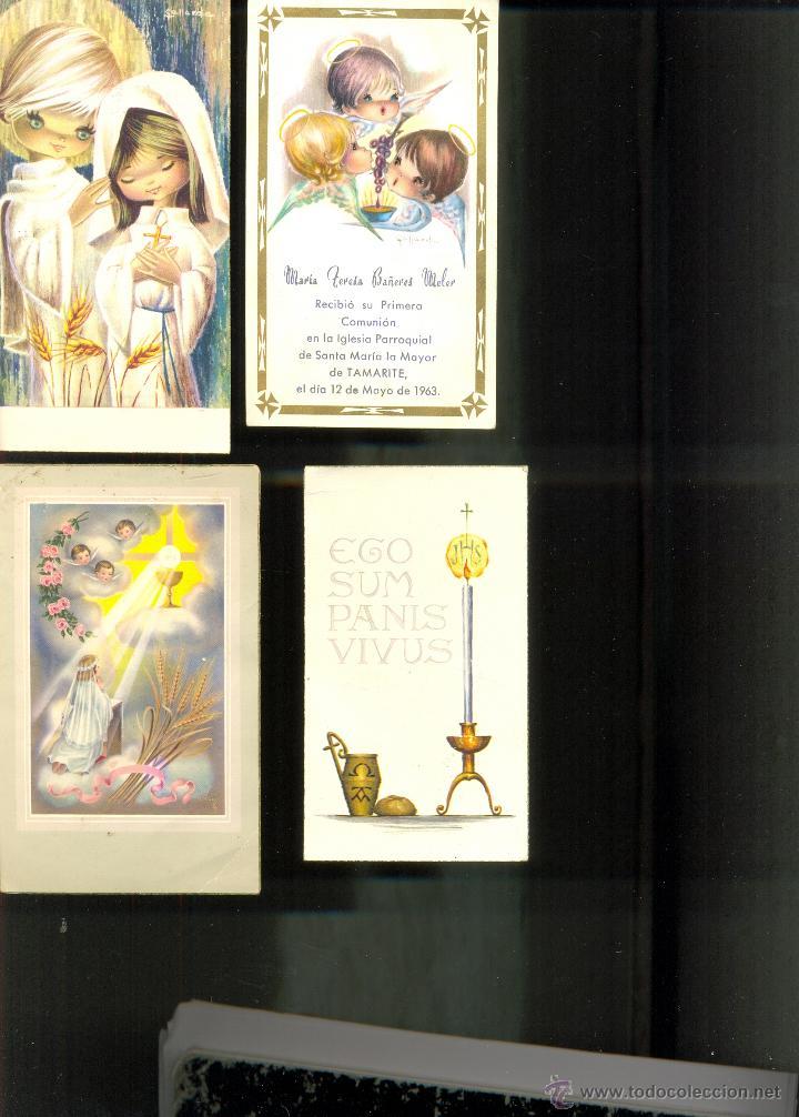 LOTE 4 RECORDATORIOS COMUNION. AÑOS 50/60 (Postales - Postales Temáticas - Religiosas y Recordatorios)