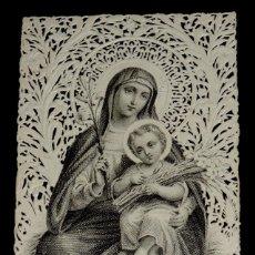 Postales: ANTIGUA ESTAMPA RELIGIOSA CALADA DE NUESTRA SEÑORA DE LA AZUCENA - BUEN ESTADO - MIDE 11X 7CMS.. Lote 42384654