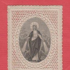 Postales: ESTAMPA RELIGIOSA CALADO-PUNTILLA- IMAGEN LA REINA DE LOS ÁNGELES.. Lote 42497279