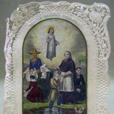 Postales: ANTIGUA ESTAMPA RELIGIOSA OBRA DE LA SANTA INFANCIA 1850 , DE PUNTILLA. Lote 42723885