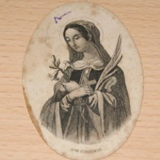 Postales: ESTAMPA RELIGIOSA DE STA. VIRGINIA - TEXTOS EN FRANCÉS TRASERA PARIS. Lote 42864271