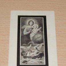 Postales: ESTAMPA RELIGIOSA VIRGEN DEL ROSARIO CON LECTURA TRASERA - CASA BAÑERES BARCELONA. Lote 42864408