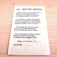 Postales: ESTAMPA RELIGIOSA O TARJETA CON TEXTO LA NOCHE-BUENA DE MIGUEL DE ALARCÓN - FECHADA 24-XII-1927. Lote 42864787