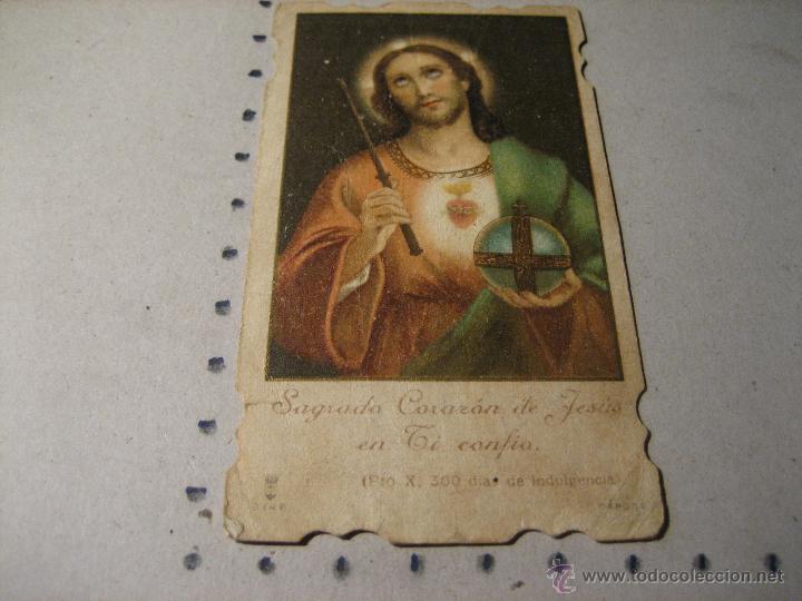 ESTAMPA RELIGIOSA ANTIGUA: SAGRADO CORAZON DE JESUS.- TROQUELADA (Postales - Postales Temáticas - Religiosas y Recordatorios)