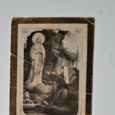 Postales: MUY ANTIGUA ESTAMPITA RELIGIOSA, APARICION DE VIRGEN EN LOURDES. Lote 44079865